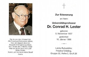 Conrad Henry Lester – Todesanzeige 1996